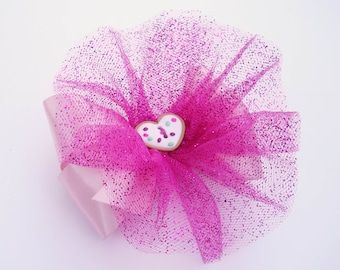 Pink Sugar Cookie Hair Bow - Glitter Tutu Hair Bow  - Girls Hair Bow - Toddler Hair Bow - Satin Hairbow - Boutique Hair Bow - Hair Accessory