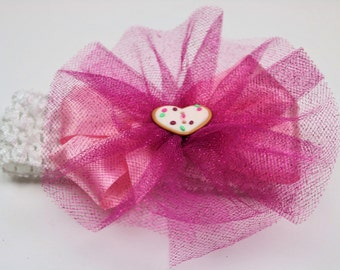 Pink Sugar Cookie Headband - Sparkle Tutu Bow - Soft Headband - Infant Headband - Toddler Headband - Satin Hair Bow - Hair Accessory