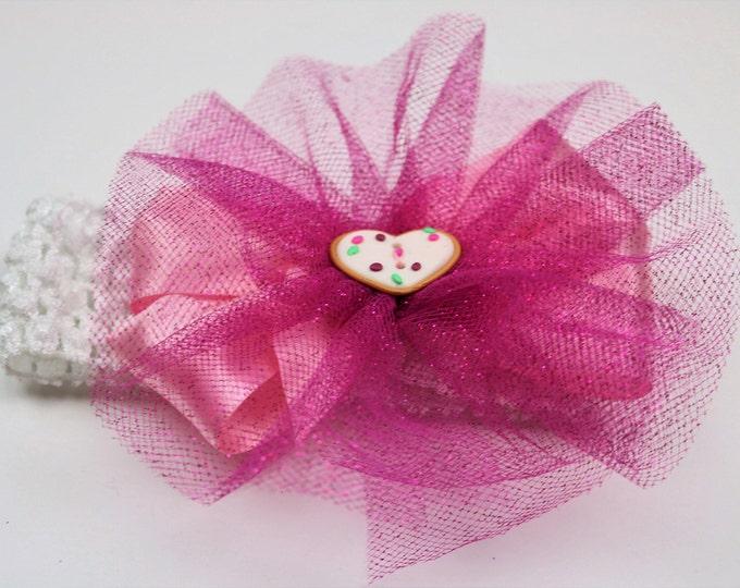 Pink Sugar Cookie Headband - Sparkle Tutu Bow - Soft Headband - Infant Headband - Toddler Headband - Satin Hair Bow - Hair Accessory