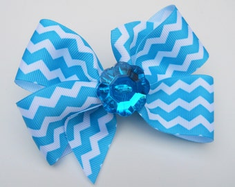 Turquoise Chevron Hair Bow - Girls Hair Bow - Toddler Hair Bow - Boutique Hair Bow - Hair Accessory - Trendy Hair Bow - Hair Clip - Blue Bow