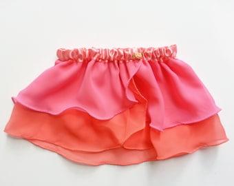 4T-5T Girls Coral & Pink Ballet Skirt - Ballet Skirt - Childs Ballet Skirt - Toddlers Ballet Skirt - Faux Wrap Skirt - Pull On Skirt - Tutu