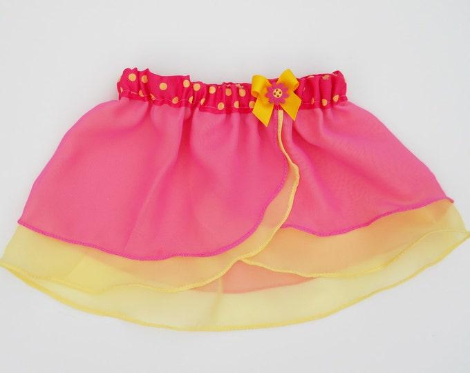 Lottie-da - Girls Pink Yellow Ballet Skirt - Dancewear - Ice Skating - Toddlers Ballet Skirt - Childs Ballet Skirt - Faux Wrap Skirt - Tutu