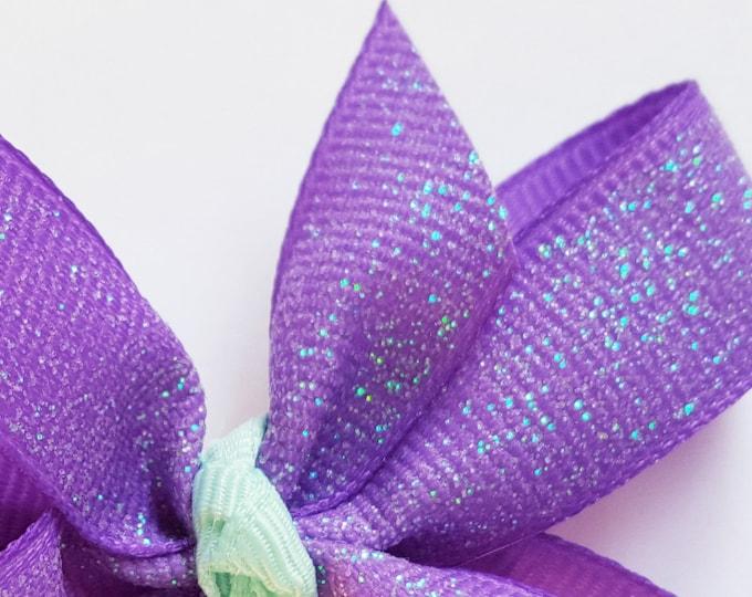 Purple Glitter Bow - Mermaid Bow - Girls Hair Bow - Toddler Hairbow - Ribbon HairBow - Boutique Hair Bow - Hair Accessory - Little Hair Clip