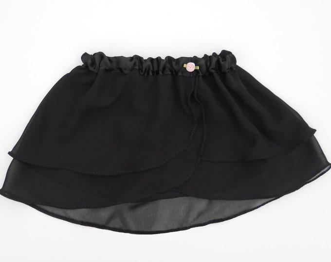 Girls Black Ballet Skirt - Dancewear - Ice Skating Skirt - Toddlers Ballet Skirt - Childs Ballet Skirt - Faux Wrap Skirt - Tutu - Pink Rose