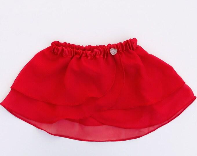 Girls Red Heart Ballet Skirt - Dancewear - Girls Ballet Skirt - Toddlers Ballet Skirt - Childs Ballet Skirt - Faux Wrap Skirt - Tutu