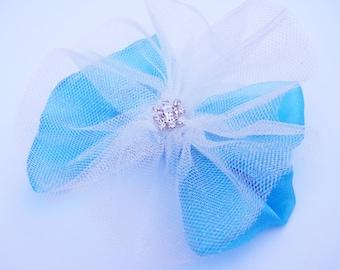 Ice Blue Princess Hair Bow - Snow Queen - Glitter Tutu Hair Bow - Girls Hair Bow - Toddler Hair Bow - Boutique Hair Bow - Hair Accessory