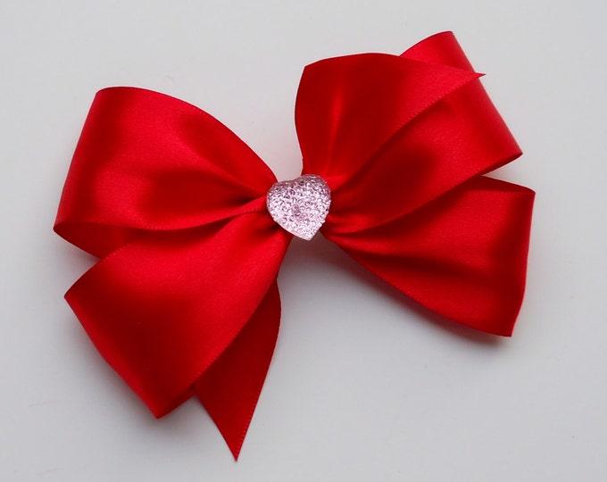 Red Heart Hair Bow - Girls Hair Bow - Toddler Hair Bow - Satin Ribbon Hair Bow - Boutique Hair Bow - Hair Accessory - Hair Clip - Red Bow