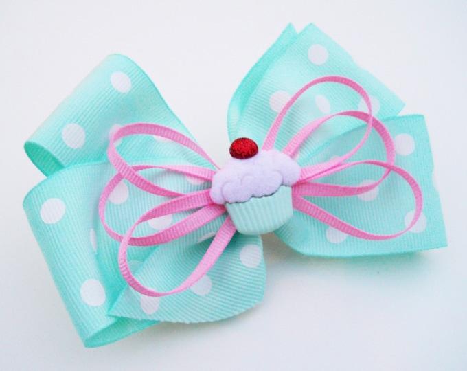 Cupcake Hair Bow - Mint Bow - Girls Hair Bow - Toddler Hair Bow - Boutique Hair Bow - Hair Accessory - Polka Dot Hair Bow - Stacked Hair Bow