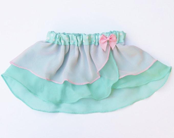 Girls Mint Green and Pink Ballet Skirt - Girls Ballet Skirt - Toddlers Ballet Skirt - Childs Ballet Skirt - Faux Wrap Skirt - Tutu