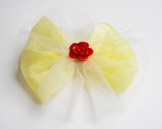 Yellow Princess Hair Bow - Glitter Tutu Hair Bow - Red Rose Hair Bow - Girls Hair Bow - Toddler HairBow - Boutique Hair Bow - Hair Accessory