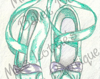 The Little Mermaid Ballet Slipper Poster Print - Pointe Shoe Print - Original Artwork - Princess Ballet Shoe - Dance Poster - Girls Decor