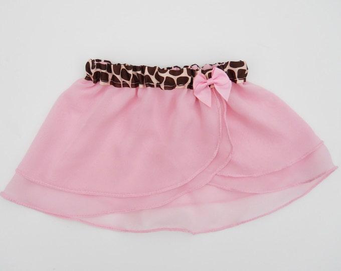 Girls Pink Giraffe Ballet Skirt - Pink Ballet Skirt - Girls Ballet Skirt - Childs Ballet Skirt - Toddlers Skirt - Faux Wrap Skirt - Tutu