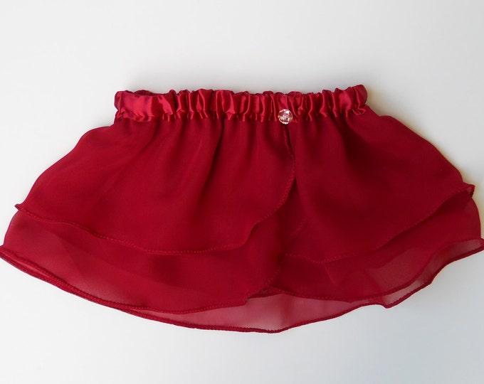 Girls Ruby Red Ballet Skirt - Dancewear - Girls Ballet Skirt - Toddlers Ballet Skirt - Childs Ballet Skirt - Faux Wrap Skirt - Tutu