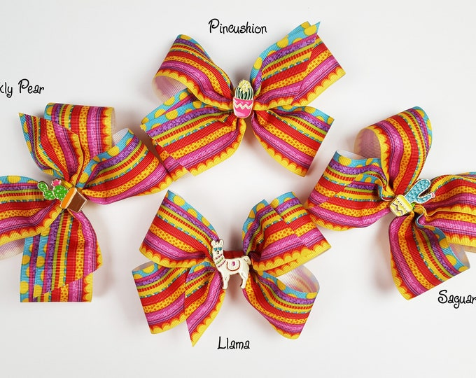 Fiesta Hair Bow - Llama Hair Bow - Cactus Hair Bow - Summer Hair Bow - Colorful Hairclip - Girls Hair Bow - Toddler Hair Accessory - Hipster
