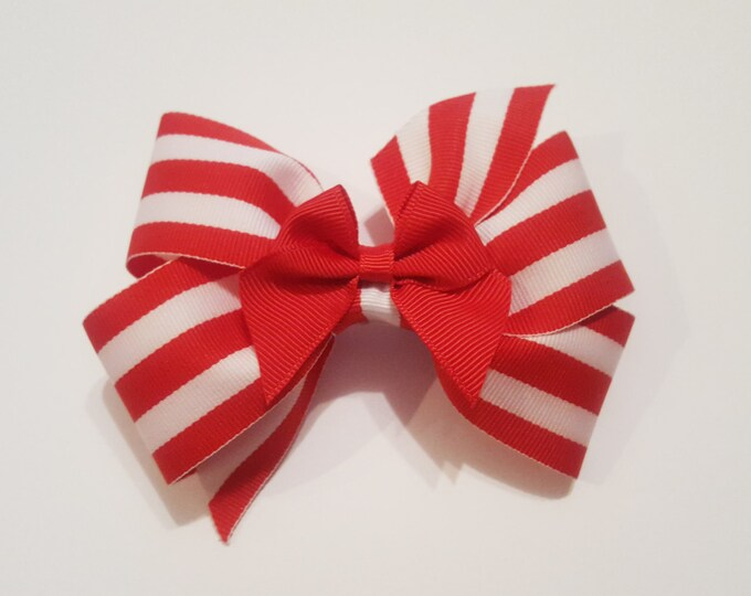 Red and White Striped Hair Bow - Holiday Hair Bow - Girls Hair Bow - Toddler Hair Bow - Hair Accessory - Stocking Stuffer - Gift