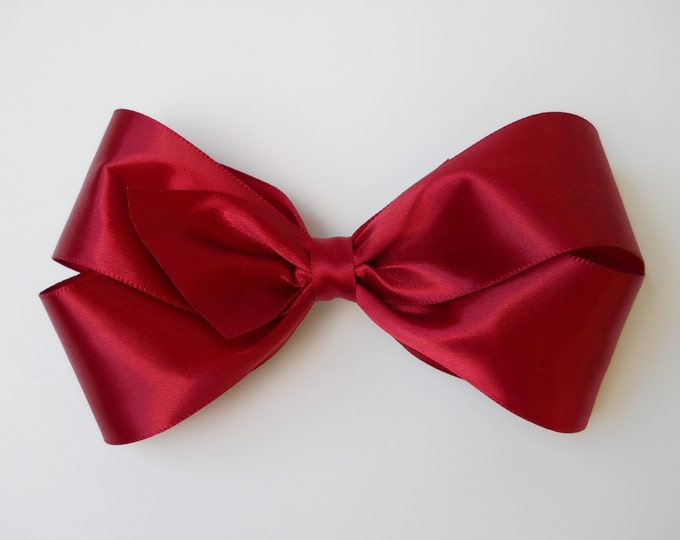 Ruby Red Hair Bow - Girls Hair Bow - Toddler Hair Bow - Satin Ribbon Hair Bow - Boutique Hair Bow - Hair Accessory - Hair Clip - Red Bow