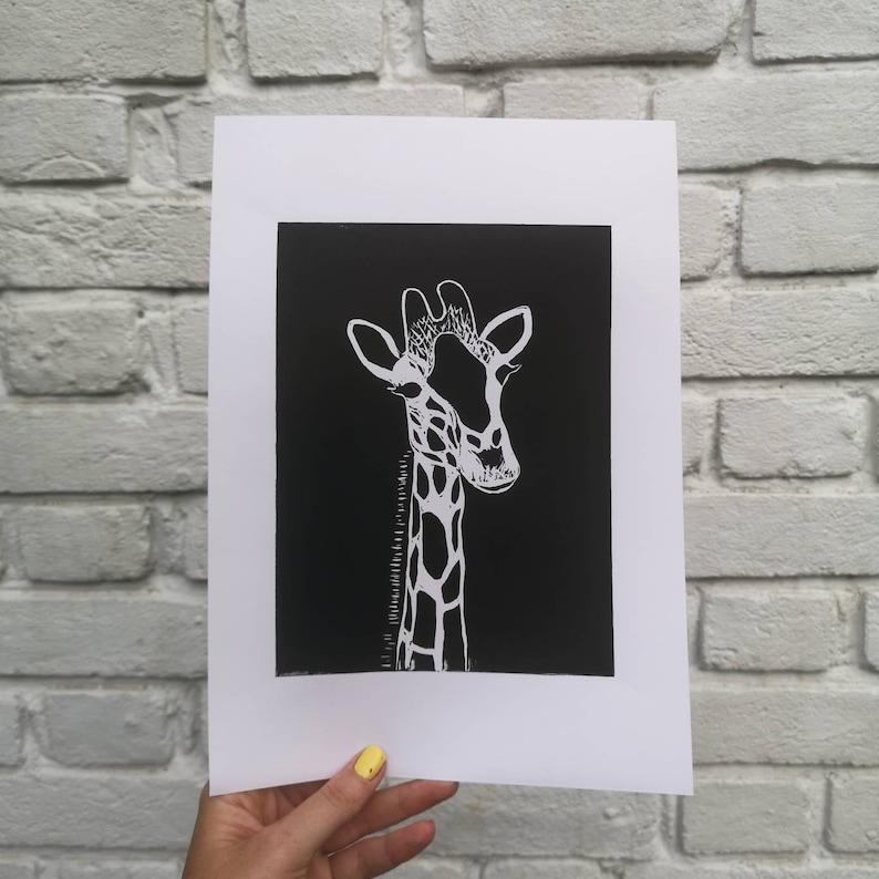 Giraffe Lino Print Animal Passport Original Linocut Print in Black and White Handmade Print 15cm by 20cm Lino Print