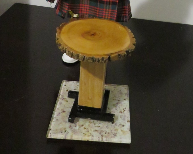 "Featured listing image: Live Edge End Table for 12"" (30cm) or 1:6 Scale Dolls. One of a kind table"