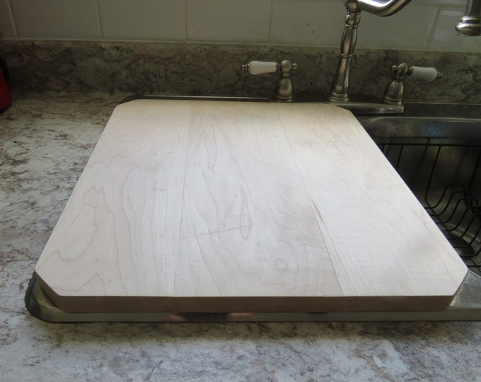 Featured listing image: Cherry Cutting Board / Sink Cover gives you more workspace in your kitchen.  Chamfered Corners.