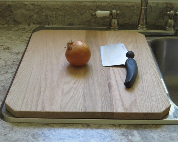 Featured listing image: Oak kitchen sink cover / cutting board / counter extender to give you more workspace in your kitchen. Chamfered corners.