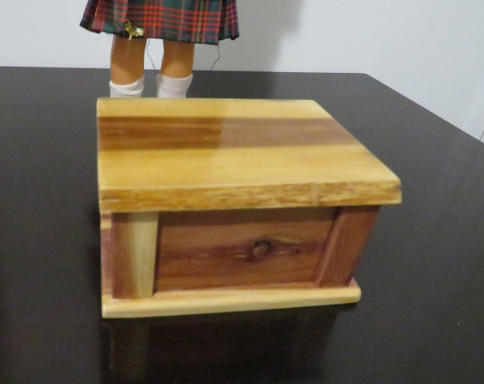 Featured listing image: Live Edge Cedar Trinket/Jewelry Box or Doll Furniture Chest