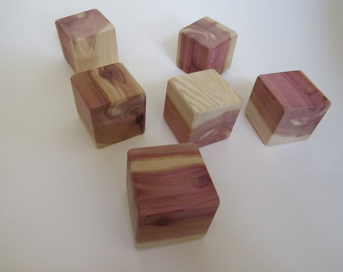 Featured listing image: Red Cedar Craft Blocks / Building Blocks - 1.75 inch Unfinished Wooden Blocks, made from Canadian Red Cedar