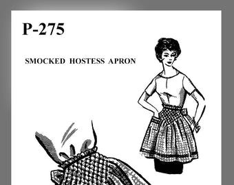 Instant Download Vintage Mail Order Apron pattern Smocked Half Apron sewing pattern # P -275  PDF Delivery