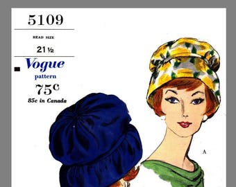 Vintage Vogue Designer Sally Victor Hat Fabric material sewing pattern # 5109 Copy