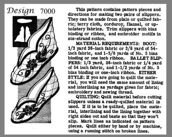 Slippers Alice Brooks Boot Or Ballet Quilted Slipper's Fabric Material sew pattern #7000 PDF Delivery Instant download