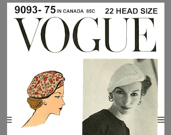 Vintage Vogue Designer Sally Victor Hat Fabric material sewing pattern # 9093 Copy