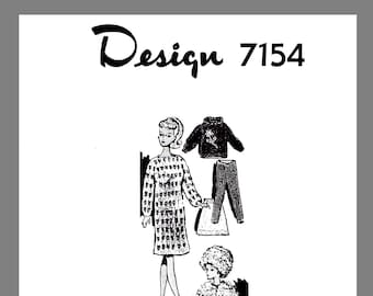 "Doll Clothes PDF: Vintage Mail Order  11 1/2"" Doll's Knitted Wardrobe Knitting pattern # 7154  Copy / Reprint PDF Delivery"