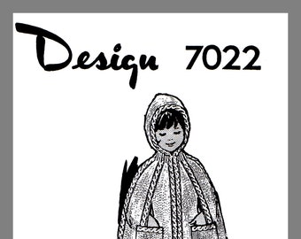 Children's Knitted Adorable Girl's Hooded Cape Vintage Mail Order Knitting pattern #7022 PDF Instant Download
