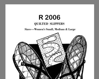 Instant download Vintage Mail Order Quilted Fabric Slippers Fabric Material sewing pattern #R2006  PDF  E - File