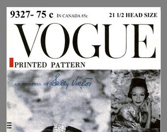 Vintage Vogue Designer Sally Victor Hat Fabric material sewing pattern # 9327 Copy