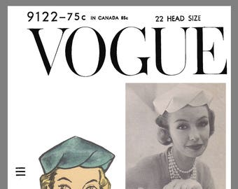 Vogue Vintage Designer Sally Victor Hat Fabric material sewing pattern # 9122 Copy