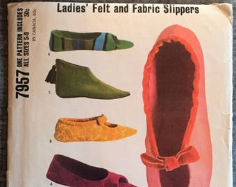 Vintage UnCut McCall's Ladies Felt and Fabric Slippers fabric material sewing pattern Original # 7957