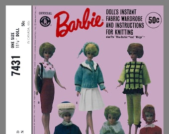 Instant Download Vintage McCall's Barbie Doll Clothes Fabric Sewing Knitting Pattern # 7431 Reprint / PDF Delivery