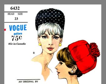 Vintage Vogue Designer Sally Victor Hat Fabric material sewing pattern # 6432 Copy