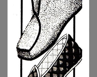 Instant Download Vintage Mail Order Boot Loafer Slippers Fabric Material sewing pattern #7270 PDF Delivery