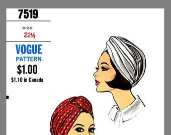1960s Vintage Turban Hat Millinery Sew Material  Fabric Sewing Pattern Sz 22.5 #7519 Reprint / Copy