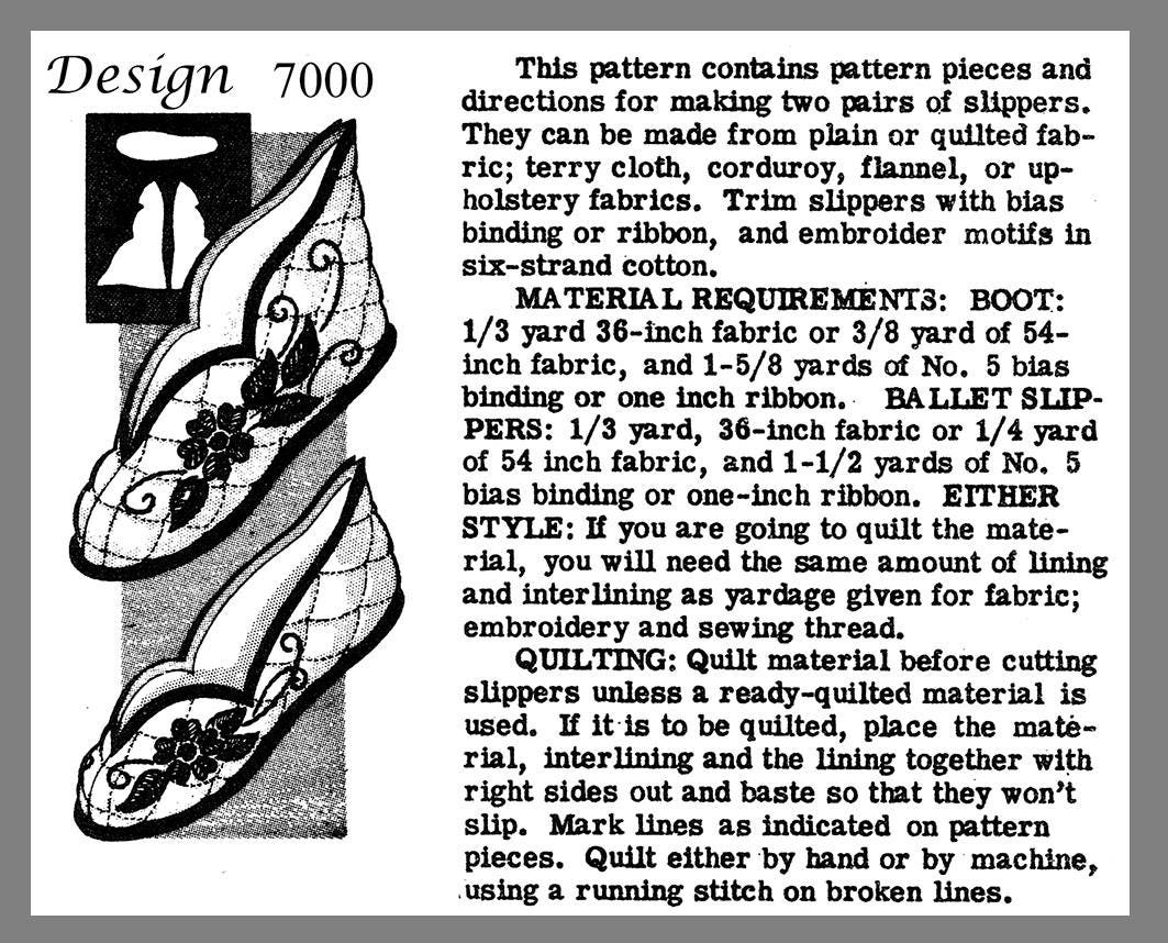 c5f2bcd5a5417 Slippers Alice Brooks Boot Or Ballet Quilted Slipper's Fabric Material sew  pattern #7000 PDF 8 1/2