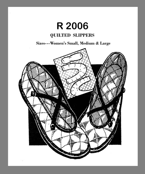 946e373bcee30 Vintage Mail Order Quilted Fabric Slippers Fabric Material sewing pattern  #R2006 PDF 8.5