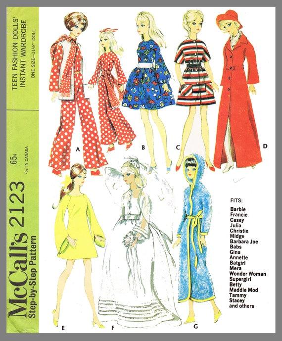 Vintage 60s Barbie Dress Pattern Midge Stacey Tammy Doll Clothes Christie