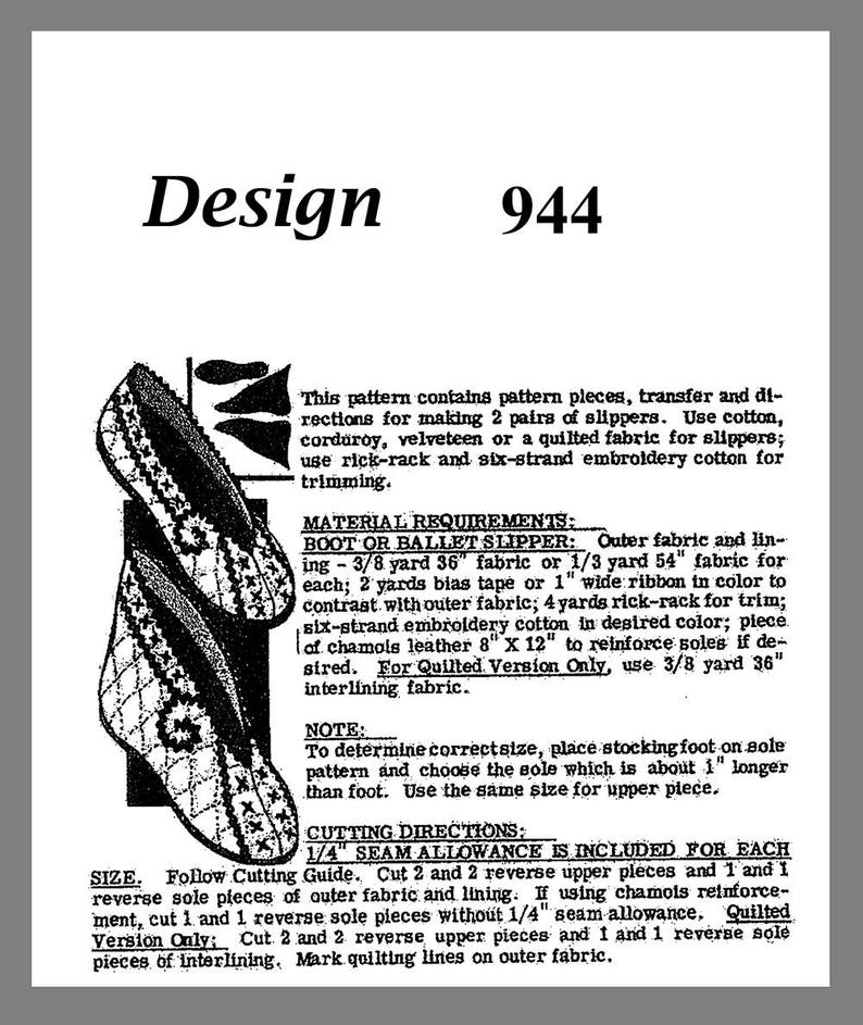 e48c51a5c69f9 Slipper pattern Vintage Mail Order 2 Styles Boot Ballet Slipper Fabric  Material sewing pattern # 944 Copy / Reprint