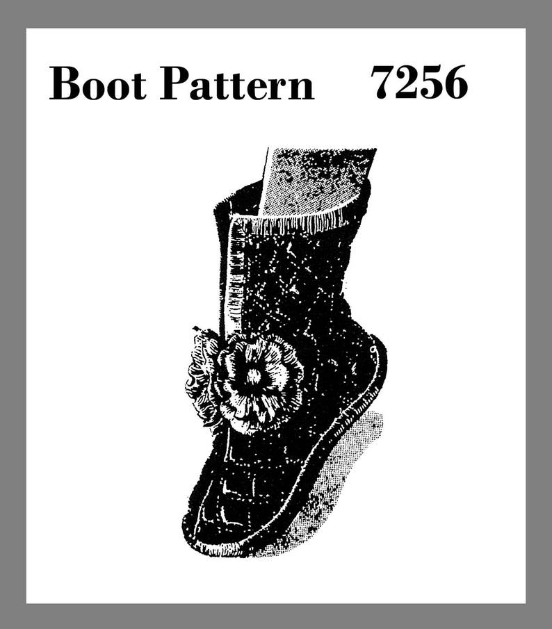 a08cdca57761a Boot Pattern Vintage Mail Order quilted Boot Slippers Fabric Material  sewing pattern #7256 Copy / Reprint