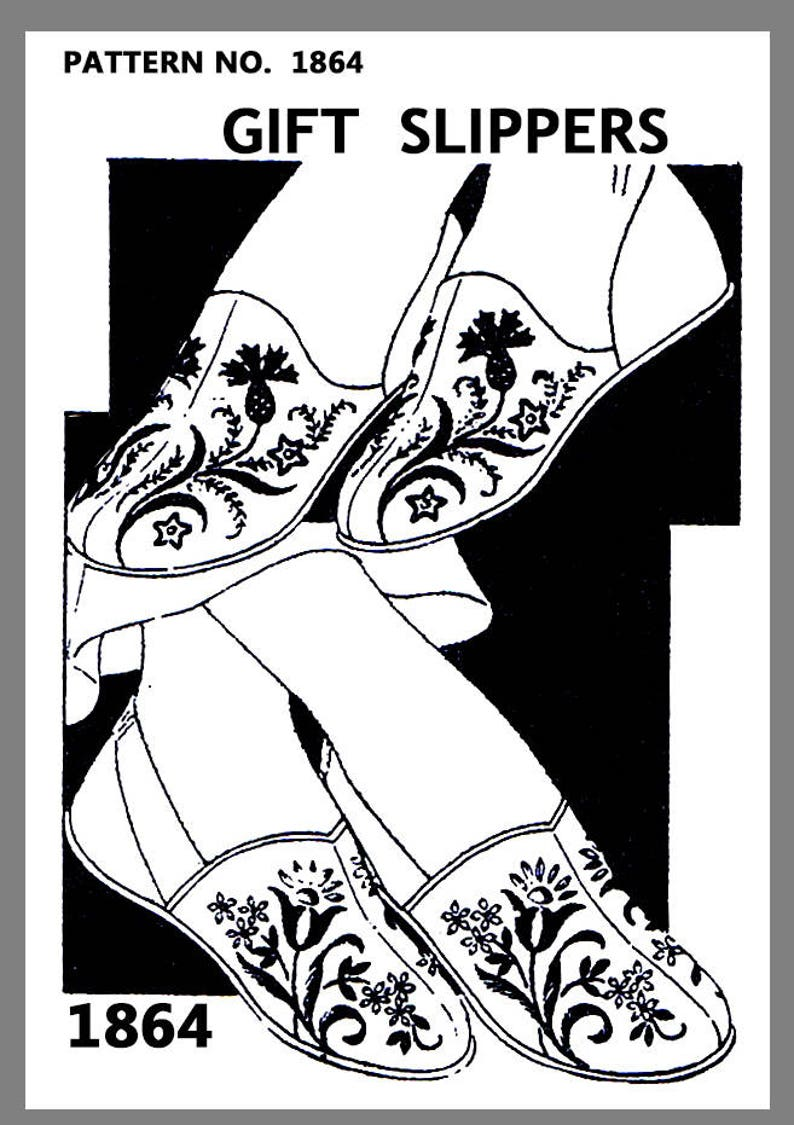 280a53b828146 Slipper Pattern Vintage Mail Order Women's embroidered Slipper Fabric  Material sew pattern #1864 PDF 8.5