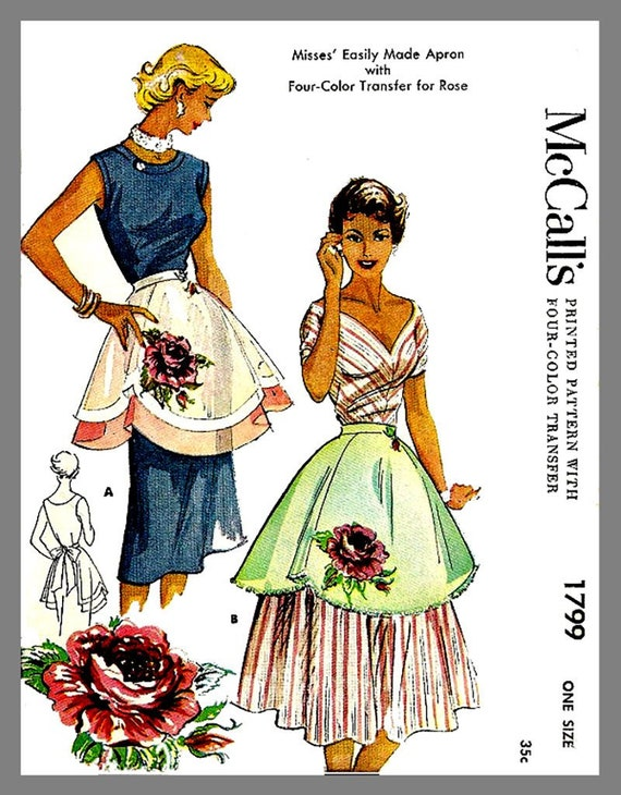 Vintage McCall Misses/' Scottie APRON One size Material Fabric sew pattern # 1376