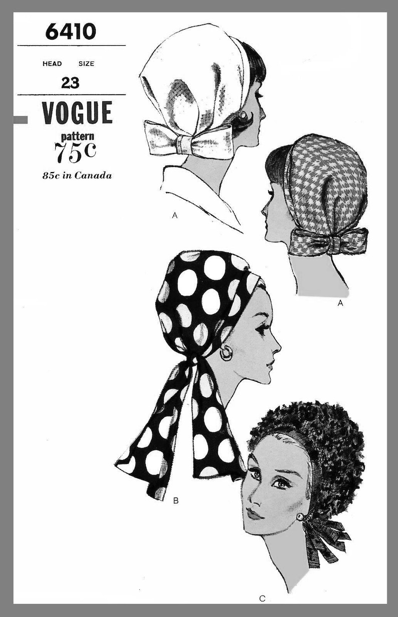 Vogue Millinery Hat Scarf Head cover Fabric material sewing pattern # 6410 Reprint Copy