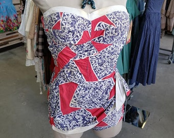 ebd809f5c27 Vintage 1950 s Red White and Blue Aztec Inspired Novelty Print Swim Suit  Strapless Bullet Bra Bathing Suit Vintage Swimwear Coronado by Elon