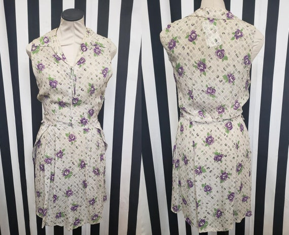 Vintage 1930s 1940s Rayon White Dress with Purple